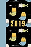2019: Mercat with Blue Mertails: (150 pages Beginner friendly  Bullet Journaling Dot Grid Paper Notebook PLUS 12 SAMPLES PAGES -standard size)
