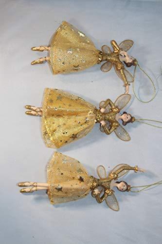 Gisela graham–set di 3angeli oro resina e tessuto con corone decorazioni per albero di natale