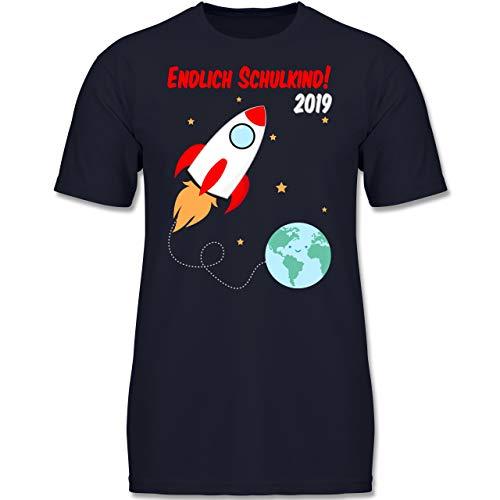 Einschulung und Schulanfang - Endlich Schulkind Rakete 2019-140 (9-11 Jahre) - Dunkelblau - F130K - Jungen Kinder T-Shirt -
