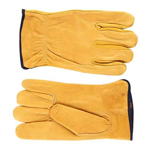 BMY Handschuhe Hitzebeständig zum Schweißen Isolationsschutz Hochtemperatur-Hochleistungs-Holzofen Feuer Kunstleder gelb (Wie Man Einen Holzofen)