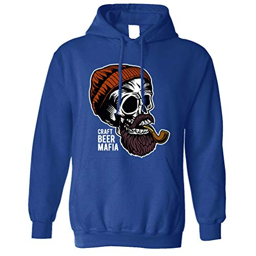 Tim And Ted Alkohol Kapuzenpullover Craft Beer Mafia Schädel Royal Blue Small -