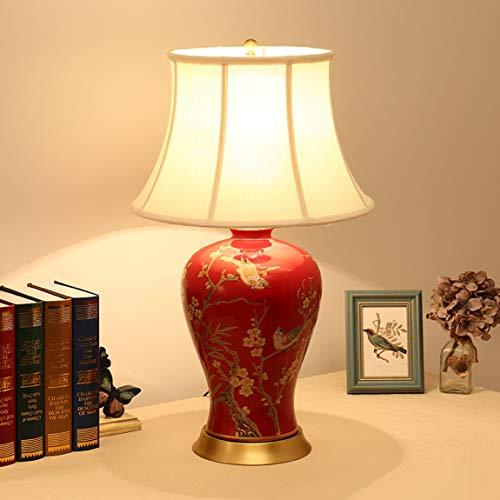 HLQW Schreibtischlampe Schlafzimmer Nacht Wohnzimmer Amerikanische Pastorale gemalte Blumen- und...