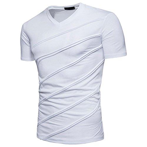 ASHOP Herren T-Shirt Mode Persönlichkeit Casual Schlank Solide Kurzarm Top Bluse (M, Weiß)