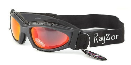 Ray-Zor Rayzor Professional UV400 Gun Metal Grey 2 In 1 Cycling - MTB Sunglasses/Goggles, With a Red Iridium Anti-Glare Clarity Lens and a Detachable Elasticated Headband & Inner Foam Padding
