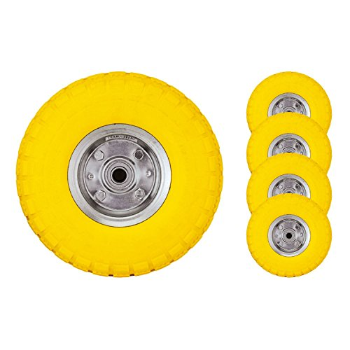 "Bond Hardware® 4 x 10"" Yellow Sack Truck Hand Trolley Cart Wheelbarrow Solid Rubber Wheel Tyre Tires Test"