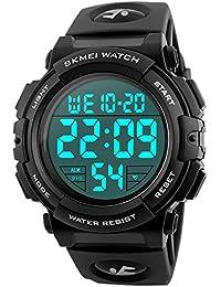 Montre Digitale Militaire Homme Grands Nombres 50M Etanche Désign Armée Montres Sport Alarme Lumière LED Montre Bracelet Electronique pour Hommes
