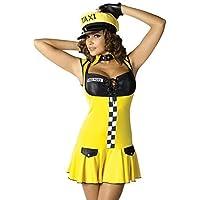 Da donna 4 pezzi Sexy Taxi giallo Driver lavoro porta Armi taglia adulto + cappello (Driver Guanti)