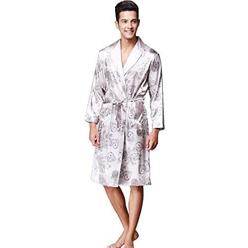 KPILP Herren Winter Silk Nachtwäsche luxuriöse Print Langarm Glatte Morgenmantel Tasche Satin Top Bluse Bademantel Mantel Hausanzug(Grau,EU-50/CN-3XL) -