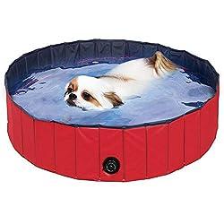FEMOR Hundepool Swimmingpool Für Hunde und Katzen Schwimmbecken Hund Planschbecken Hundebadewanne Faltbarer Pool mit PVC-Rutschfest Verschleißfest Für Kinder Hund Katze Geschenk(160*30cm)