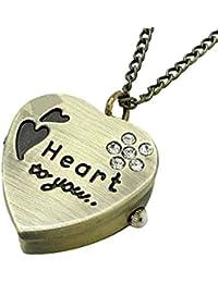 Bold N Elegant Vintage Bronze Sweet Heart Pendant Pocket Watch Clock Heart Crystal Retro Locket Necklace Chain...
