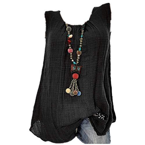 2019 Damen Rundhals ärmellose Bluse Volltonfarbe Spitze Plus Size Weste Crop Tops Lose T-Shirt S-5XL
