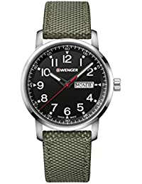 Wenger Men's 'Sport' Swiss Quartz Stainless Steel and Nylon Casual Watch, Color:Green (Model: 01.1541.109)