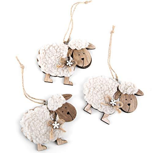 Logbuch-verlag - ciondolo a forma di pasqua con 3 pecore in feltro, 9 cm, colore: marrone naturale