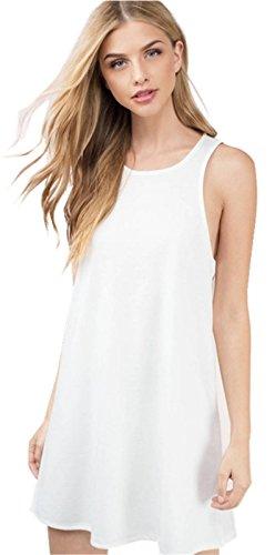 Sexy Sans Manche Mini Courte Débardeur Vest Shift Boxy Straight Ligne Droite De Plage Dress Robe Blanc