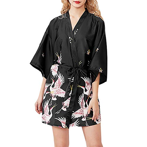 Frauen Sexy Roben Pfau Und Blüten Kimono, QinMM Frauen Floral Braut Brautjungfern Robe Satin Hochzeit Kimono Braut Morgenmantel Nachtwäsche -