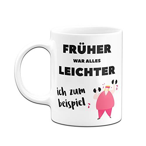 Tassenbrennerei Tasse mit Spruch Früher war Alles Leichter. Ich zum Beispiel. Bürotasse Tassen mit Sprüchen lustig (Weiß/Rosa) - 2