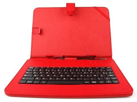 Etui rouge + clavier intégré AZERTY (français) pour Asus Zenpad Z300M-6A037A Tablette hybride 10.1