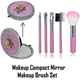 Baal Combo Of Makeup Brush Set With Makeup Mirror Double Sided Small Folding Makeup Mirror For Women And Girls, 40 Grams, Pack Of 1