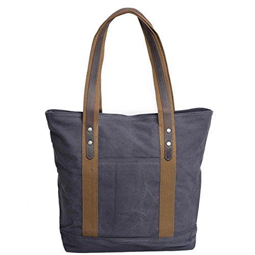 Neuleben Damen Umhängetasche Vintage Shopper Tasche aus Canvas Handtasche Schultertasche für Schule Arbeit Einkäufe Reise (Khaki) Grau