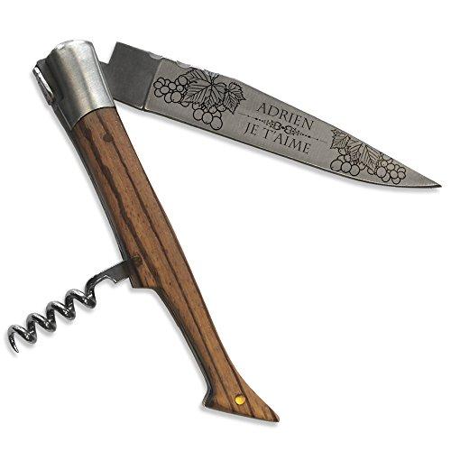 Personalisiertes Laguiole-Messer aus exotischem Eschenholz mit Korkenzieher und Sommelier-Motiv