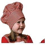 Dress Up America - Gorro de cocinero de guinga con cierre de velcro para niños, color rojo (H214)