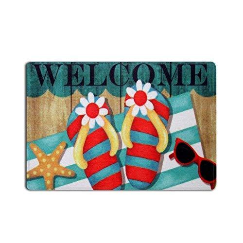 floor rugs sky Flip Flops Welcome Soft Door Mat Non-Slip Door Rug Carpets for Front Door Kitchen Bedroom, 23.6