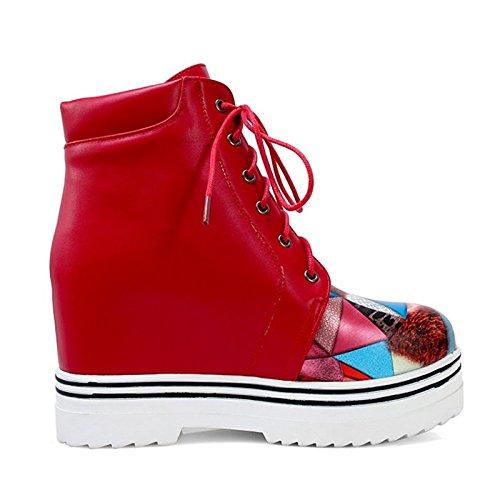Scarpe donna similpelle Autunno Inverno Comfort Novità stivali punta tonda per abbigliamento casual Rosso Nero Black