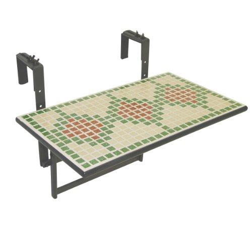greemotion 435043 Balkonhängetisch Duo, eckig, Mosaikplatte 60 x 35 cm