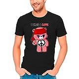 Okiwoki T-Shirt Noir Bisounours parodique Bisounours - Care Bears : Peace and Laugh ! (Parodie Bisounours)
