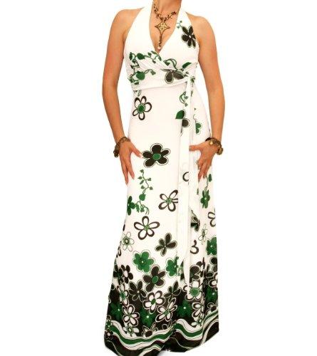 Blue Banana - Maxi robe imprimé avec bretelles tour de cou. Vert et Blanc