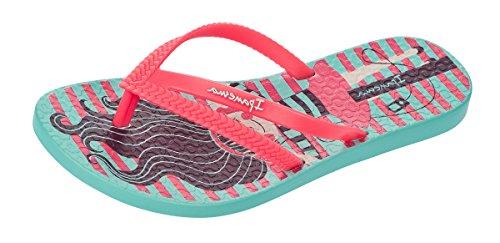 Ipanema Bossa Print Kids 82035 Mädchen Zehenstegsandale, türkis/pink (green/pink neon), Gr. 27-28