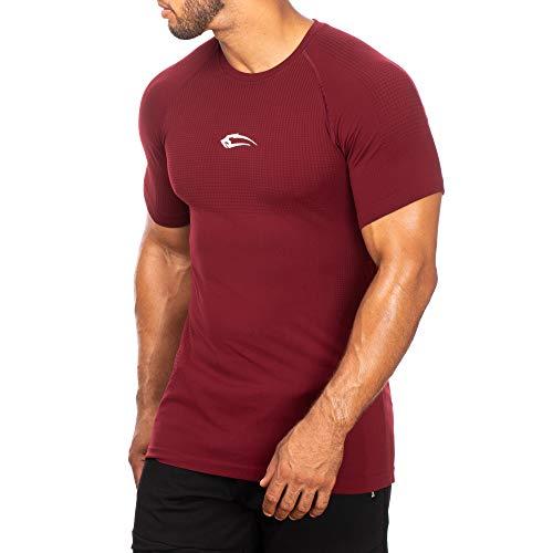 SMILODOX Slim Fit T-Shirt Herren | Seamless - Kurzarm Funktionsshirt für Sport Fitness Gym & Training | Trainingsshirt - Laufshirt - Sportshirt mit Aufdruck, Größe:M, Farbe:Bordeaux