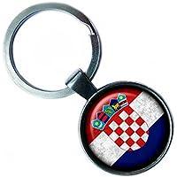 Croatia Croatian Flag Kroatien Kroatische Flagge Keychain Silber Schlüsselanhänger