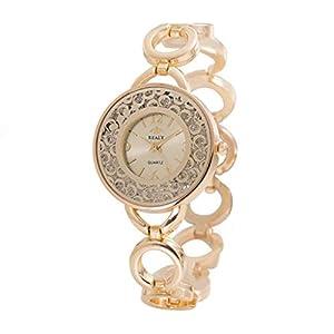 Giologre Uhren Damen Armbanduhr Metallquarz rundes Zifferblatt mit Diamant Damen Armbanduhr