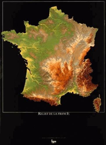 Poster relief de la France 80x60cm : 1/1 400 000 par IGN