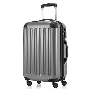 HAUPTSTADTKOFFER - Alex -  4 Doppel-Rollen Handgepäck Hartschalen-Koffer Trolley Rollkoffer Reisekoffer, TSA, 55 cm, 42 Liter, Silber