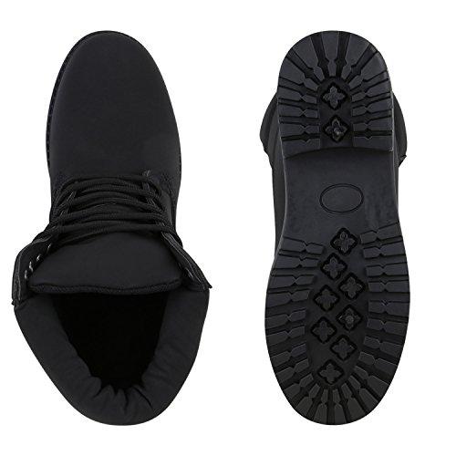 UNISEX Damen Herren Worker Boots Profil Sohle Stiefeletten Outdoor Schuhe Total Schwarz
