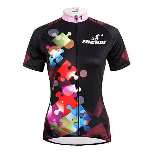 Women's Short Sleeve Cycling Jersey Jacket Moisture Wicking Outdoors Sports Shirt Quick Dry Breathable Mountain Clothing Bike Top Jigsaw Decoration Multicolor Small (Lady Short Cycling Jersey Sleeve)