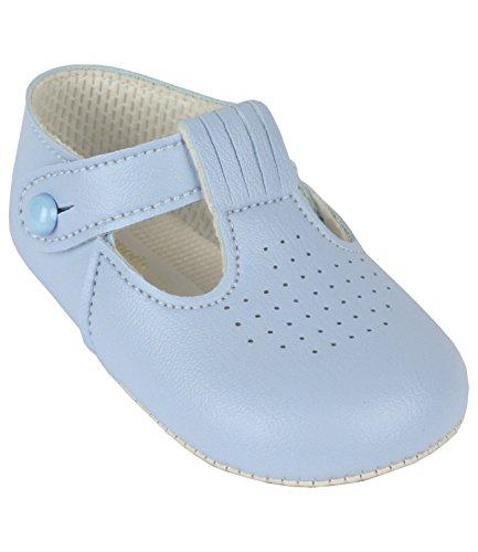 BabyPrem Babyschuhe Weiche Sohle T-Bar Baby Schuhe Jungen 6-12 Monate DUNKELBLAU Himmelblau