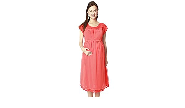 e3de883d6c82 Nine Maternity Wear Coral Lace Dress: Amazon.in: Clothing & Accessories