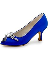 ElegantPark HP1541 Women Peep Toe Rhinestones Clips Pumps Court Shoes Wedding Bridal Shoes