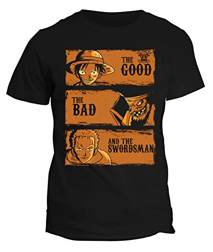 Tshirt one piece the good,the bad the swordsman cartone pirata - in cotone by fashwork