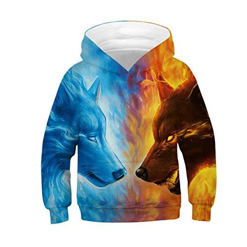 uideazone Jungen Mädchen 3D Hoodie Wolf Kapuzen Sweatshirts Herbst Winter Pullover Hoody mit Tasche Neuheit Sport Kapuzenpulli -