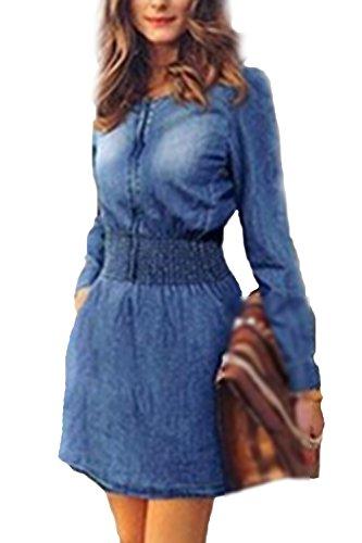 Le Donne Autunno Plain Manica Lunga Round Collo Denim Tunica Vestito Blue