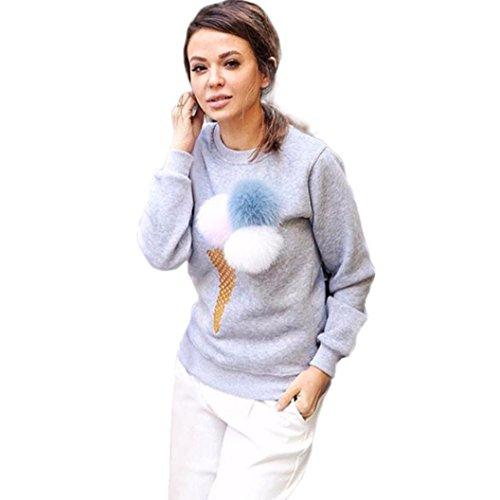 FEITONG la camiseta de las mujeres felpa de la bola Manga larga blusa ocasional suéteres de la camisa (L, Gris)