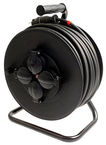 Profi Kabeltrommel outdoor IP44 Außen mit 4 Steckdosen H07RN-F Gummileitung 3g1,5 50m schwarz