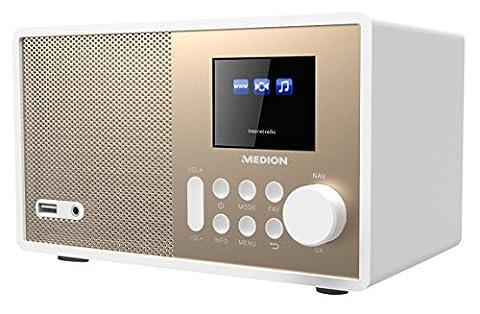 MEDION E85059 MD 87559 Internetradio, 2,4 Zoll TFT Farb-Display, 40 Speicherplätze, Holzgehäuse, USB,