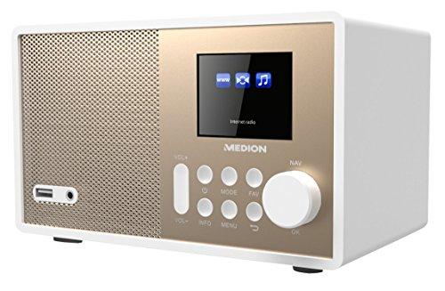 """MEDION E85059 MD 87559 WLAN Internet-Radio, farbiges 2,4"""" TFT Display, 40 Speicherplätze, Holzgehäuse, 1 x 10W RMS, Back-USB-2.0-Anschluss, weiß"""