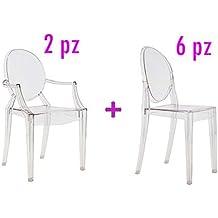 6 sillas 2 transparente, diseño de Ghost design Philippe Stark réplica en Policarbonato, transparente