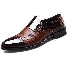 86a11a7087f Bottes Oxford pour Hommes en Cuir Marron Noir avec Fermeture à glissière  Souple et Chaussures de